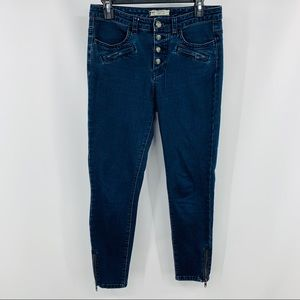 Free People Blue Ankle Zipper Skinny Button Fly
